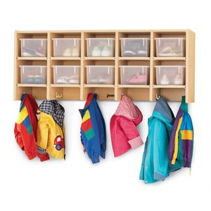 10 Section Wall Mount Coat Locker - with Clear Cubbie-Trays