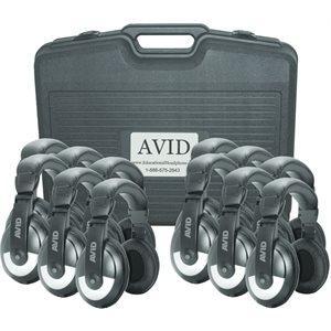 Avid Products Over-Ear Headphones Black Classroom Pack (12 headphones)